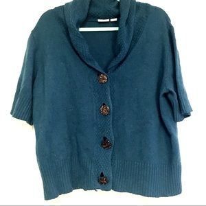 Cato Teal Short Sleeve Button Up Sweater Cardigan